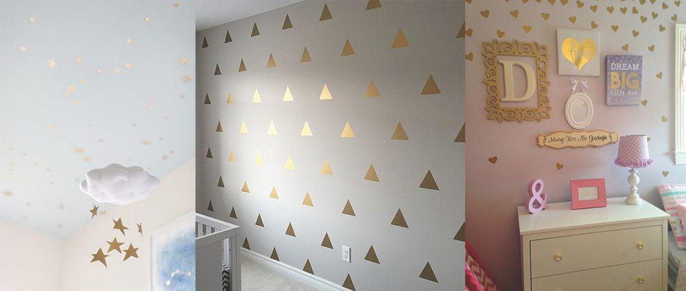 zlate-stenske-nalepke-trikotniki-srcki-zvezdice